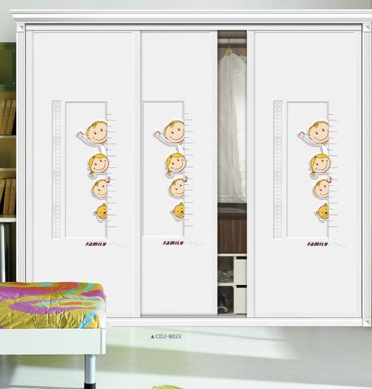 儿童房衣柜移门12期 CD3-9050 LT-3058 卡通 标尺 猫 男孩 女孩