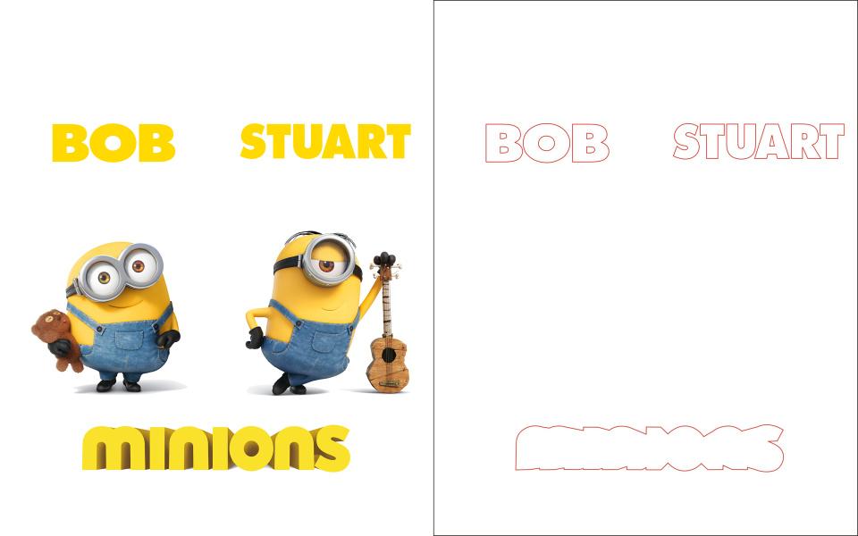 儿童房衣柜移门12期 小黄人雕刻打印图 小黄人 BOB STUART 黄色 卡通 儿童房 小孩房 高光 UV打印 雕刻 路径