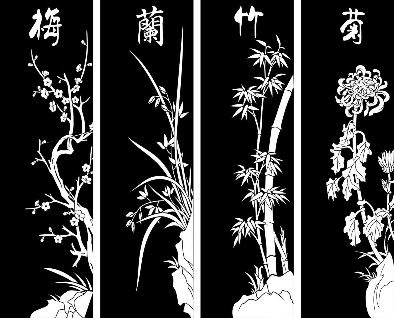 腰花 花纹 镂空花纹 雕花图案 装饰花纹 通花 密度雕花 雕刻图 矢量图