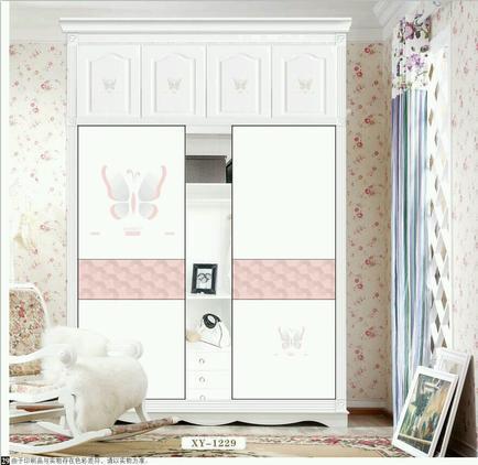 儿童房衣柜移门12期 LT-3394 香雅12期 6D 异行 平雕 蝴蝶 粉色